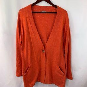 J Jill Cardigan Long Sweater V Neck Pockets L